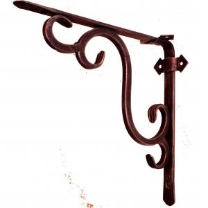 Кронштейн кованый 25 х 25 см | Цвет: черный-медь-стиль-1