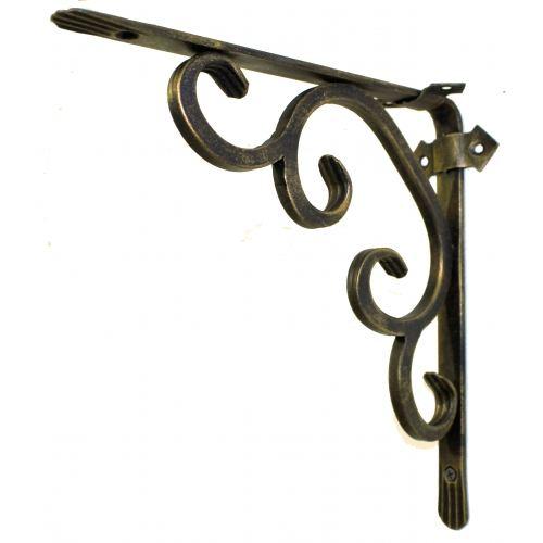 Кронштейн кованый 25 х 25 см | Цвет: черный-бронза-стиль-2