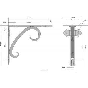 Кронштейн 15 х 15 см | Цвет: чёрный/бронзовый